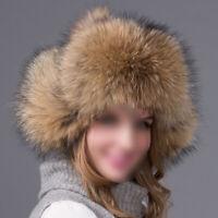 Women Winter Warm Raccoon Whole Skin Hat Fox Fur Lei Feng Outdoor Windproof Cap