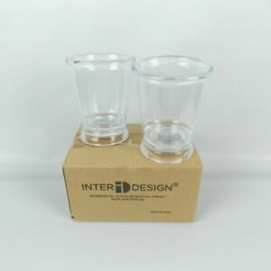 "InterDesign Franklin Plastic Bathroom Tumbler Cup 3.5"" x 4.25"" Clear 2-Pack"