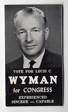 1960s LOUIS WYMAN Congress PALM CARD Poll POLITICAL New Hampshire NH US House