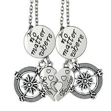 Mother Daughter Jewelry Sets Compass Pendant Silver Plated Chain Necklace US
