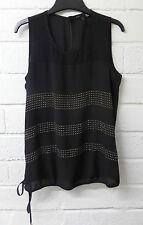 Womens Ladies New Black Sleeveless Gold Studded Stripe Tie Top/Blouse UK 8-20