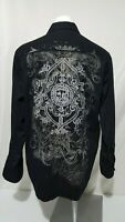 Eighty Eight Men's Large Black Affliction Button Down Shirt Size Large