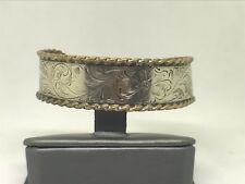 Vintage Serling Silver Cuff Bracelet with Floral Engraving
