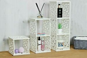 White Cube Wall Shelves Filigree Design Bathroom Storage Unit Home Decoration