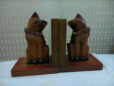Old Wooden Wood Cat Kitty Bookends Book Ends
