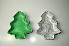 Pair Of Christmas Tree Candy Dishes Green White
