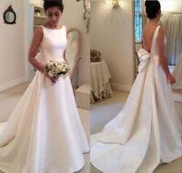Simple Style Women White Satin Backless Ivory Wedding Dress Bridal Custom Size