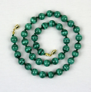 """Malachite Necklace 20"""" w/ 14kt Gold Filled Clasp --  8mm"""