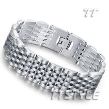 Quality THICK TT Silver Stainless Steel biker Bracelet Wristband (BBR217) NEW