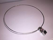 Nuevo - Collar Necklace SEDISTRI Erns - Acero + Colgante Acero con Cristal Rosa
