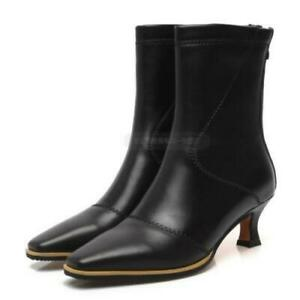 New Fashion Outdoor Stretch Back Zipper Ladies Square Toe Chelsea Ankle Boots L
