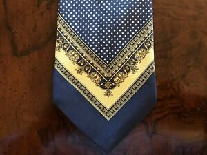 Gianni Versace Men's Tie Navy Gold Dotted Background Greek Key Classic Design