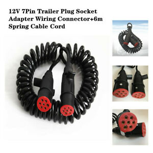 12V 7Pin Cars Trailer Plug Socket Adapter Wiring Connector+6m Spring Cable Cord