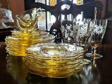Lancaster Jubilee plates, cups saucers or iced tea glasses yellow glass flowers