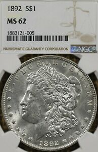 1892-P $1 NGC MS62 Morgan Silver Dollar, White