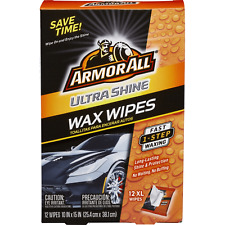 NEW XL ArmorAll Ultra Shine Wax Wipes, One Step Long Lasting, 12 XL Wipes (G4)