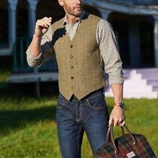 Single-Breasted Mens Vest Retro Tweed Waistcoat Plaid Slim Formal Casual Lattice