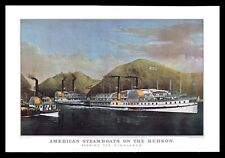 Currier & Ives 1964 Calendar Art Print - American Steamboats On The Hudson