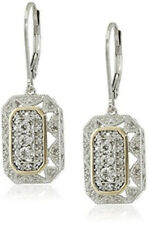Wedding 14k Yellow Gold and Silver Gemstone Art Deco-Style Drop Earrings Jewelry
