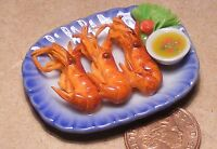 1:12 Scale 3 Handmade King Prawns On A  Ceramic Plate Dolls House Kitchen Food