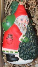 New Vaillancourt Folk Art American Santa & Christmas Tree German Glass Ornament