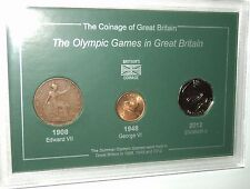 The Olympic Games in London GB (1908 Penny 1948 Farthing 2012 50p) Coin Gift Set