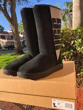 UGG Australia 1096471 Classic Tall Rubber UGG Logo Black Boots Size US 8