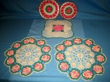 Vtg Lot 5 Crochet Pink Raised Rose Doily/Pro Tex Pot Holder Hot Pads!