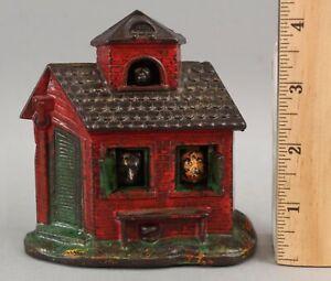 RARE 19thC Kyser & Rex Painted Cast Iron Mechanica Bank ZOO Animal Building