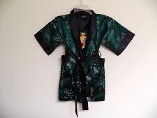 Thai Silk-Blend Child's Robe/Kimono Dark Green Reversible Dragon/Unisex-M (New)