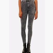 59b4b27b989 H&M Denim Skinny High Waist Jeggings Dark Black Acid Wash Raw Hem Jeans  Women 26