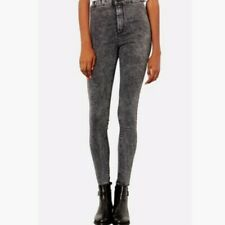 faca2d80c461 H M Denim Skinny High Waist Jeggings Dark Black Acid Wash Raw Hem Jeans  Women 26