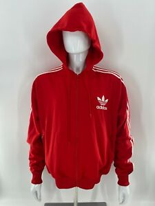 Adidas Hoodie Sweatshirt 2XL Red Cotton Poly Blend Pullover Trefoil Logo Pocket