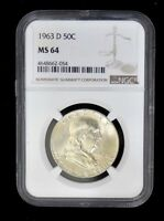 1963 D - FRANKLIN HALF DOLLAR - SILVER- MS64 NGC GRADED