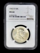 1963 D - FRANKLIN HALF DOLLAR - SILVER- PROOF MS63 NGC GRADED