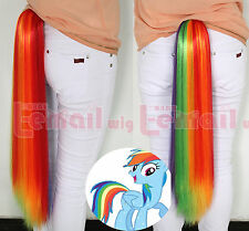 My Little Pony Rainbow Dash Tail Rainbow Cosplay Wig Clip Ponytail PJ27 USA Ship