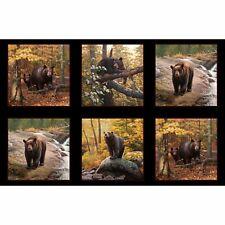 Black Bear in Forest Cotton Fabric Block Panel By Elizabeth's Studio 22