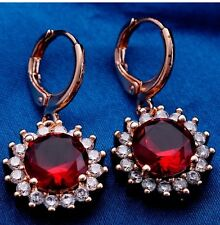 FREE POST Red Ruby Crystal Like Diamond Fashion Rose Gold Drop Dangle Earrings