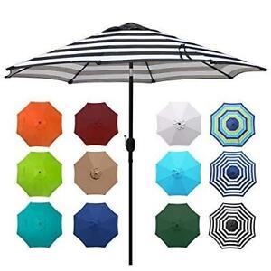 9' Backyard Outdoor Aluminum Patio Umbrella, Striped Patio Umbrella, Market Stri