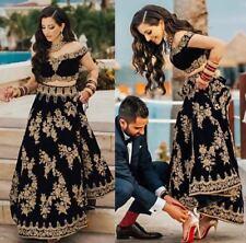 Black Traditional Indian Pakistani Fashion Taffeta Silk Lahenga Choli Dupatta NW
