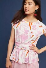 NWT Anthropologie Pink & White Floral Peplum Tee