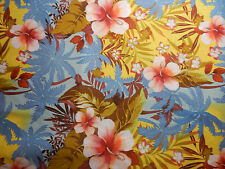 TROPICAL FLOWER FLORAL HAWAIIAN  HIBISCUS BLUE PINK FABRIC~SEWING-RAG QUILT