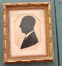 Antique 1800s Silhouette Portrait Primitive Folk Art Man Original Framed