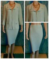 St. John Collection Blue Cream Jacket Skirt XL 14 2pc Suit Gold Zipper Pulls