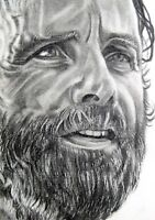 ORIGINAL ACEO sketch card WALKING DEAD Andrew Lincoln RICK GRIMES
