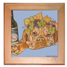 """Dogue De Bordeaux Dog Kitchen Ceramic Trivet Framed in Pine 8"""" x 8"""""""