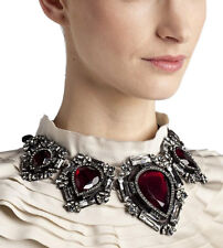 Big Teardrop Retro Flower Necklace Red Rhinestone Crystal Black GP Women Gothic