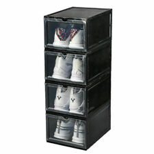 1/2/3 Plastic Drawer Shoe  Box Stackable Organiser Clear Black Foldable