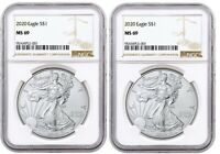 2020 1oz Silver Eagle NGC MS69 - Brown Label - 2 Pack - PRESALE