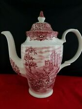 "Vintage OLDE COUNTRY CASTLES Coffee Choclate Pot BRITISH ANCHOR Ironstone 10""h"